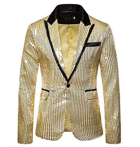 XFXZXZ Blazer Heren Nachtclub pak Shiny Gold Sequin Glitter Embellished Jacket podiumzanger CoatsWedding Party Blazer, B