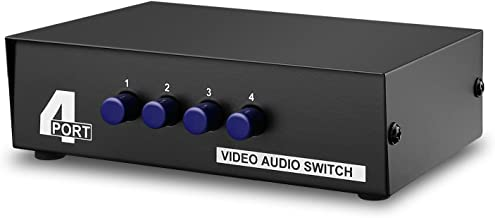 TNP AV Switch Box Switcher Selector (4 Input 1 Output) - 4 Way Port Stereo RCA Audio and Composite Video Selector Switch Box For Wii, XBOX, DVD, PS2, Cable Box, Security Monitors, Cameras