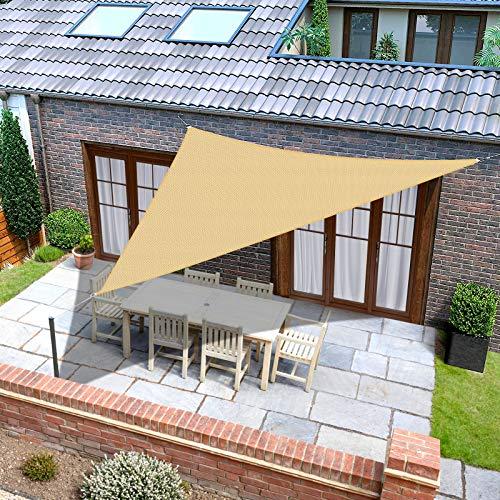 Toldo triangular de 16 x 16 x 16 pies, eficaz protección contra rayos solares, impermeable y transpirable para cochera, patio, patio trasero, jardín, color beige