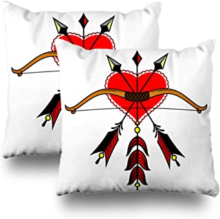 Kutita Set of 2 Decorative Pillow Covers 18x18 inch Throw Pillow Covers, Bow and Arrow On The Background of The Heart Pattern Double-Sided Decorative Home Decor Pillowcase