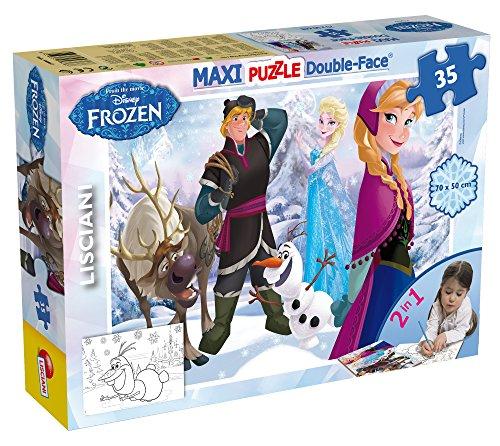 Lisciani Puzzle Maxi Floor para niños de 35 piezas 2 en 1, Doble Cara con reverso para colorear - Disney Frozen Jugando en el Hielo 46867