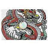 KIMDFACE Rompecabezas Puzzle 1000 Piezas,Dragón criatura tradicional china sosteniendo una gran perla Signos del zodíaco Folk Tattoo Graphic,Puzzle Educa Inteligencia Jigsaw Puzzles para Niños Adultos
