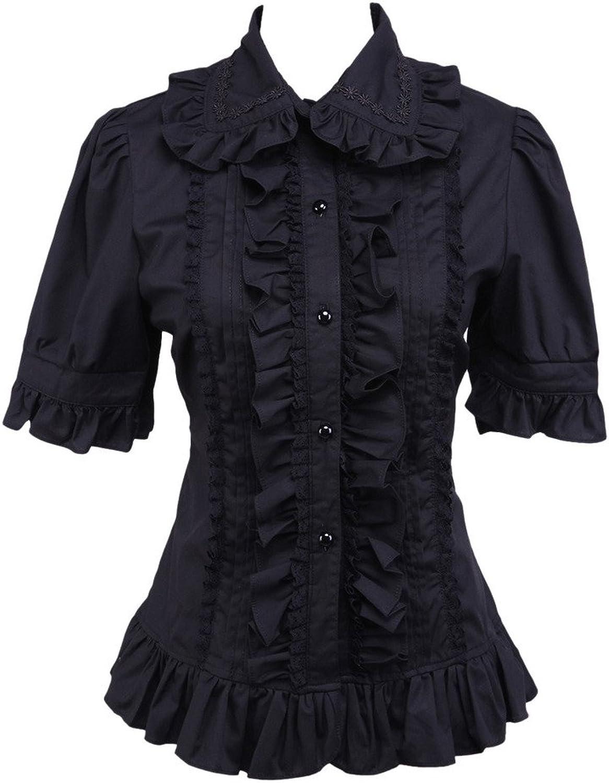 Hugme Cotton Black Ruffle Lolita Blouse
