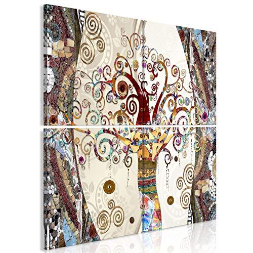 murando Cuadro en Lienzo Gustav Klimt 80x80 cm - impresión de 4 Piezas en Material Tejido no Tejido - impresión artística fotografía Imagen gráfica decoración de Pared Arbol Abstracto l-A-0004-b-j