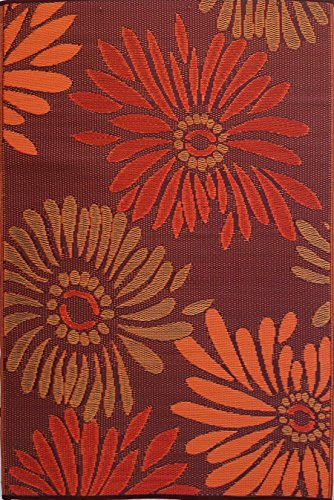 Mad Mats Daisy Indoor/Outdoor Floor Mat, 4 by 6-Feet, Rust