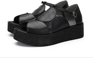 YNXZ-SHOE Ms Sandals, Fish Mouth Type Cowhide Fashion Sandals, Retro Creative Comfortable Rubber Foam Bottom, Non-Slip Breathable Single Shoes, Black Brown, 35-40 Yards (Color : Black, Size : 38)