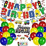Transportation Happy Birthday Party Decoration Set, Car Bus Train Plane Ship Banner Photo Props Vehicle Cupcake Toppers Colorful Hanging Swirl and Balloons for Kids Transportation Party Baby Shower