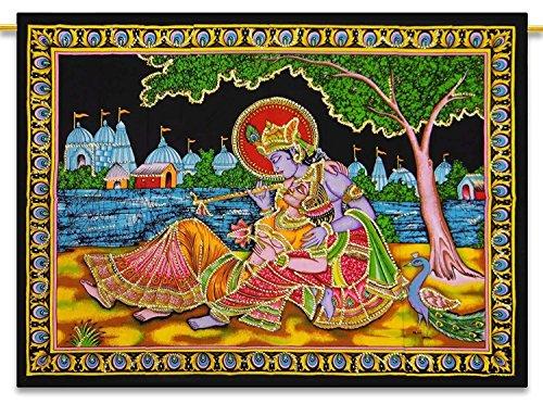 Sophia-Art Poster / Plakat / Poster, indischer Arjun Buddha, Motiv Jesus Shiva, Pailletten, handgefertigt, Krishna Radha, Ethbic Ram SaiBaba Baumwolle, baumwolle, Radha Krishna, 42