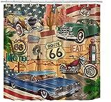 MMPTn Auto Duschvorhang, Oldtimer Thema American Retro Route 66 Abendessen Motorrad Shabby Chic Duschvorhang 71x71 Zoll wasserdichtes Gewebe einschließlich zwölf Kunststoffhaken