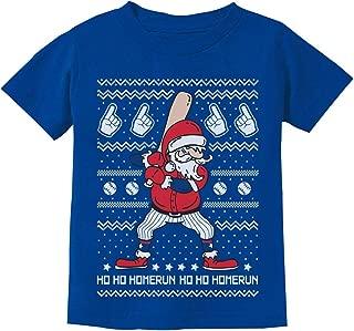 Ho Ho Home Run Ugly Christmas Santa Claus Baseball Player Youth Kids T-Shirt