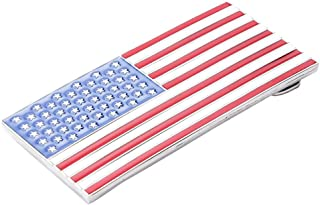 F Fityle Western USA Men's Decor Red Blue Enamel American Flag Rectangle Belt Buckle