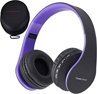 PowerLocus Wireless Bluetooth Over-Ear Stereo Foldable Headphones, Wired Headsets with Built-in Microphone for iPhone, Samsung, LG, iPad (Purple)