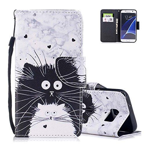 S7 Lederhülle,Brieftasche für Samsung Galaxy S7, Aeeque Tier Weiß Schwarz Katze Maus Muster Kartenfach Standfunktion PU Leder Flip Wallet Hülle Cover Hülle Handytasche mit Weich Silikon Innere Bumper