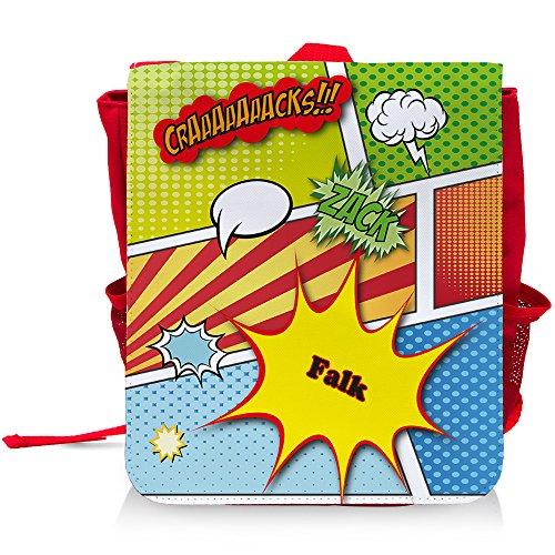 Kinder-Rucksack mit Namen Falk und schönem Comic-Motiv für Jungen