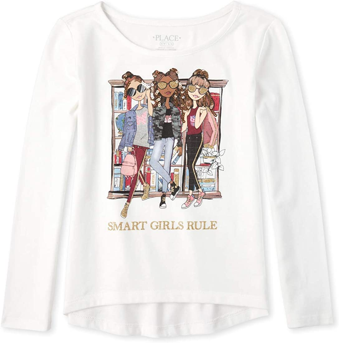 The Children's Place Girls' Big Long Sleeve Graphic T-Shirt