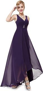 Ever-Pretty Women's Double V Neck A Line Hi Low Long Chiffon Evening Dress 09983