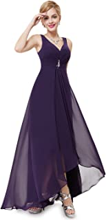 Double V-Neck Rhinestones Ruched Bust Hi-Lo Evening Party Dress 09983
