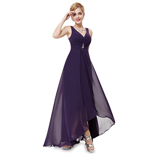 6debe22d11 Ever Pretty Womens Double V-neck Rhinestones Ruched Bust High Low Evening  Dress 09983
