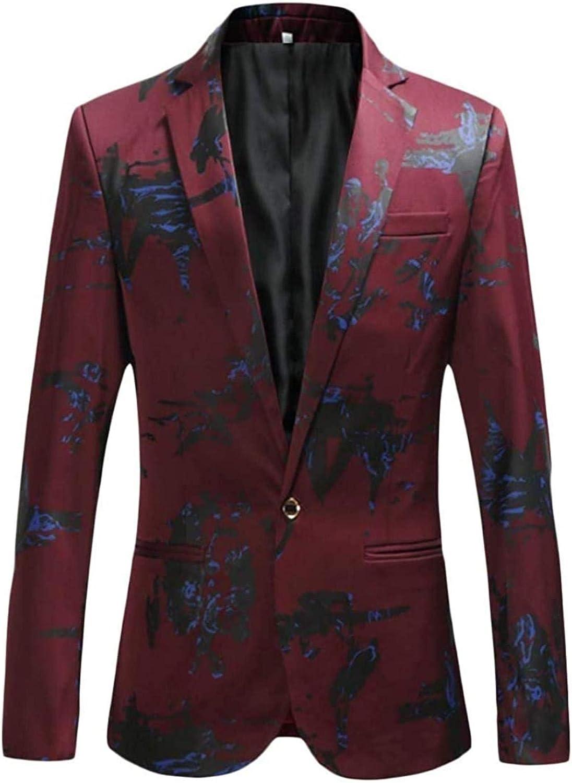 Mens Casual Business Printed Slim Fit Autumn Dress Blazer Jacket Sport Coat