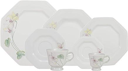 Serviço de Jantar Chá Café, Porcelana Schmidt, Prisma Decoração Encanto 595 9 042 077 053 E373, Multicor, pacote de 42