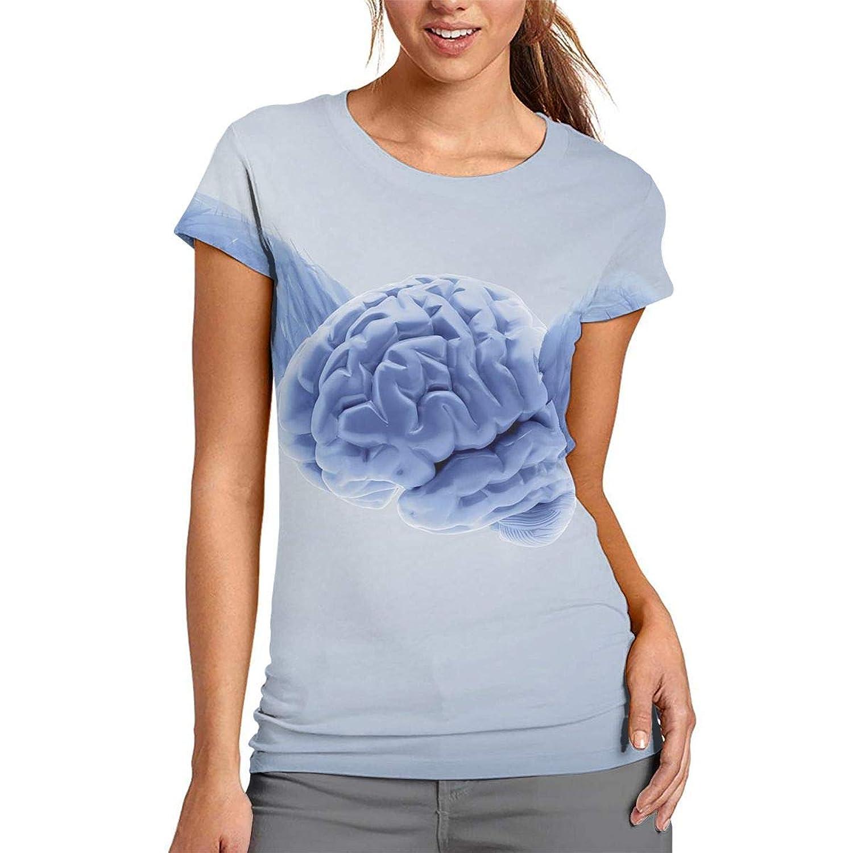 3D プリント レディース 半袖 Tシャツ 翼の脳 クルー ネック おしゃれ シャツ トップス