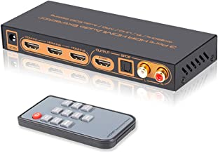 iArkPower 3 Port 4K@60Hz HDMI Switch with Optical SPDIF & RCA L/R Audio Out, 3 in 1 Out HDMI Audio Extractor Splitter with Remote, Supports 4Kx2K, 18Gbps, UHD, HDR, ARC