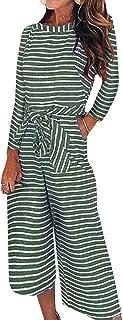 FeelinGirl jumpsuit randig hög midja overall byxa med rosett midja breda ben