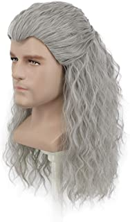 Yuehong Men Long Gray Wavy Cosplay Wig Halloween Curly Hair Party Wig Heat Resistant Anime Wigs