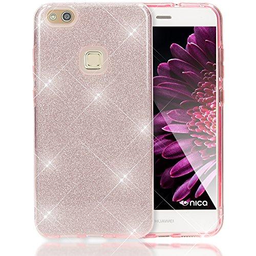 NALIA Custodia compatibile con Huawei P10 Lite, Glitter Copertura in Silicone Protezione Sottile Cellulare, Slim Gel Cover Case Protettiva Scintillio Smartphone Telefono Bumper, Colore:Pink