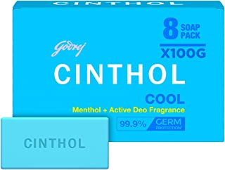 Cinthol Cool Bath Soap – 99.9% Germ Protection, 100g (Pack of 8)