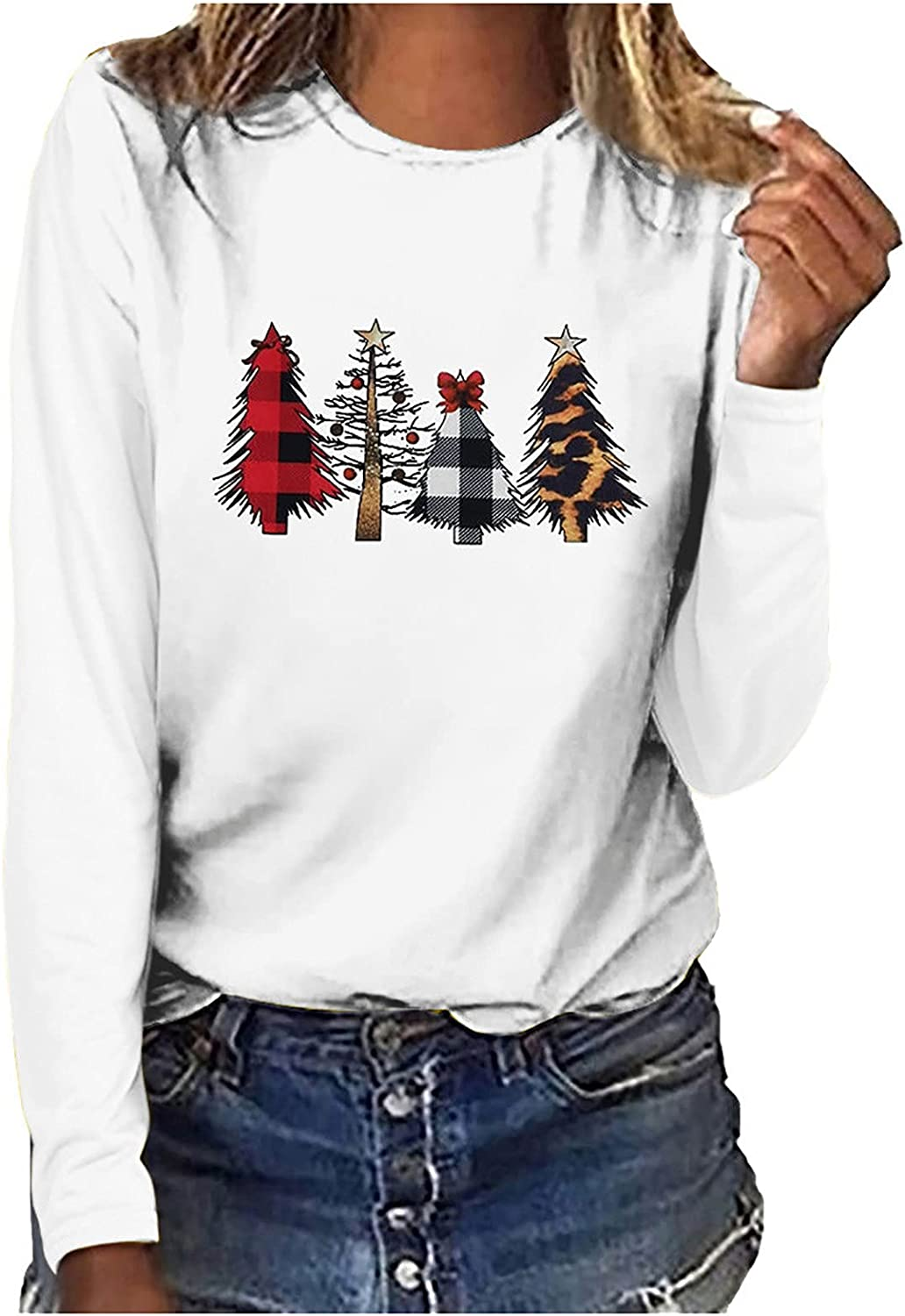 Women's Christmas Trees Printed Shirts Autumn Fashion Casual Long Sleeve Sweatshirt Pullover Tops Loose Blouse