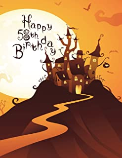 Happy 58th Birthday: Discreet Internet Website Password Organizer, Haunted House Themed Birthday Gifts for 58 Year Old Men...