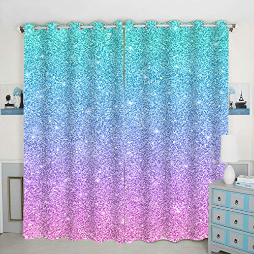 QH Multi-Colored Background Window Curtain Panels Blackout Curtain Panels Thermal Insulated & Light Blocking 42W x 84L inch (Set of 2 Panels)