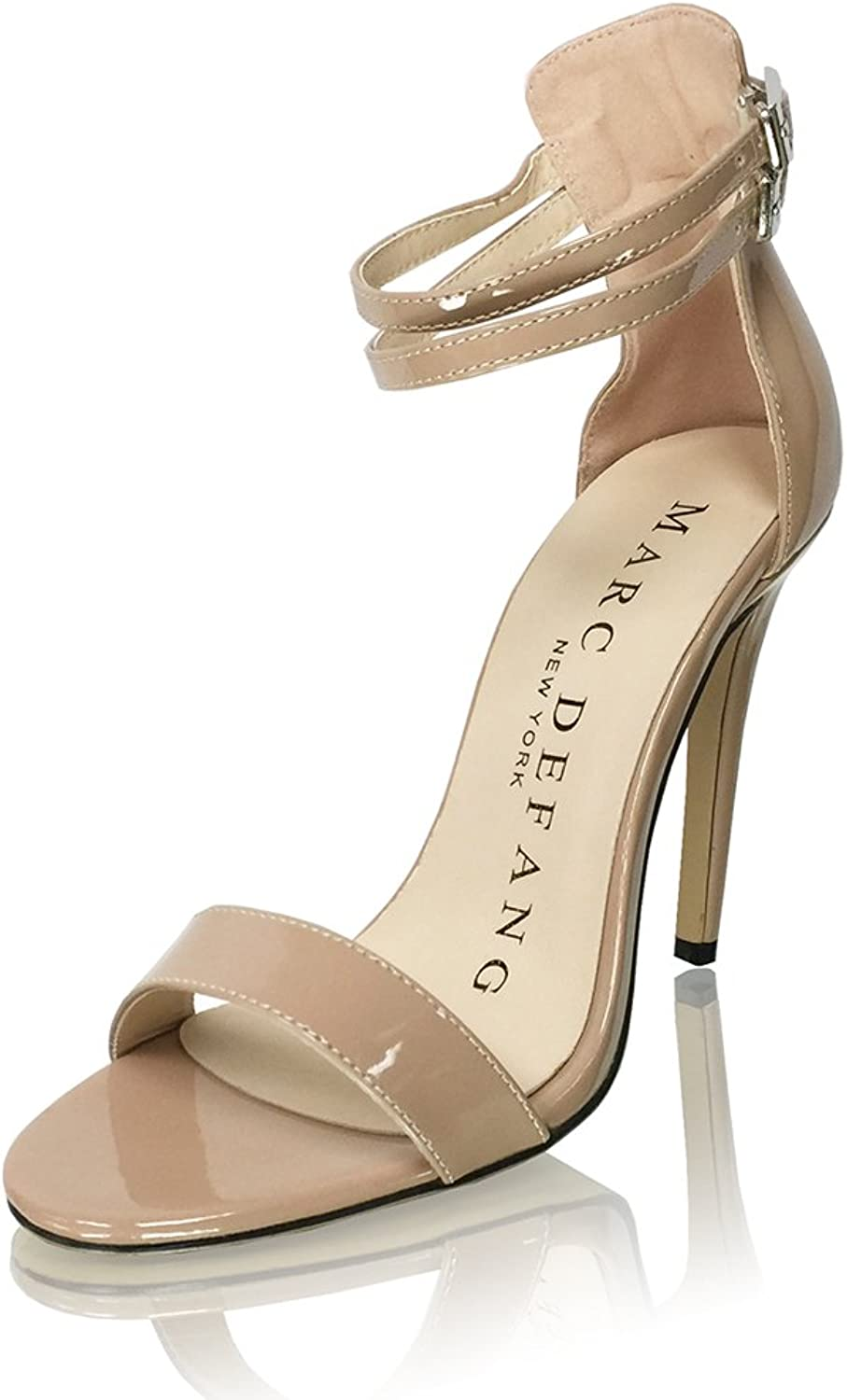 Marc Defang New York Women's Nude Patent Leather Double Buckle Strap Sandal Heels