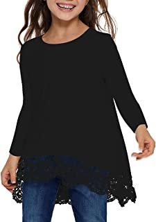 Long Sleeve Blouse for Girls Lace Round Neck Tops Casual Tee Shirts