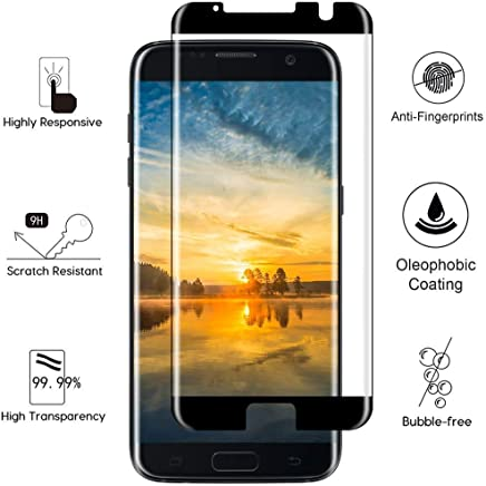Sceva Present [HD Clear] Case Friendly 5D Tempered Glass Screen Protector for Samsung Galaxy S7 Edge (Black)