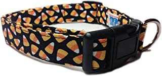 CritterGear Adjustable Dog Collar in Black with Halloween Candycorn (U.S.A. Made)