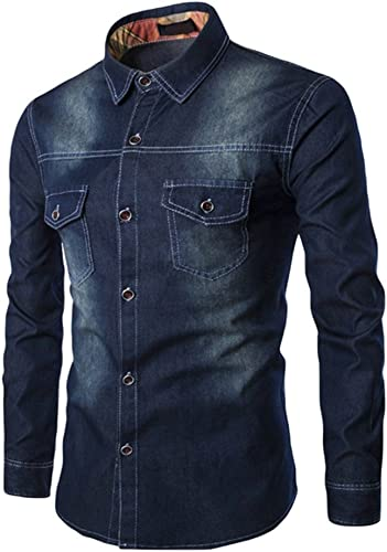 Zhiyuanan Homme Denim Shirt Sauvage Mode Jeans Chemise Grande Taille Chemise à Manches Longues Décontracté Veste en Denim