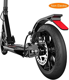 LXLA - Folding Adult Kick Scooter with Disc Handbrake, Big Wheels Dual Suspension Commuter Scooter, Adjustable Height, Supports 220lbs