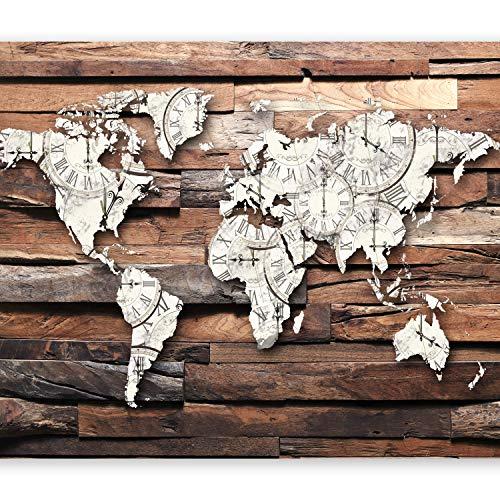 murando Fototapete Weltkarte 350x256 cm Vlies Tapeten Wandtapete XXL Moderne Wanddeko Design Wand Dekoration Wohnzimmer Schlafzimmer Büro Flur Holz Bretter k-A-0028-a-b
