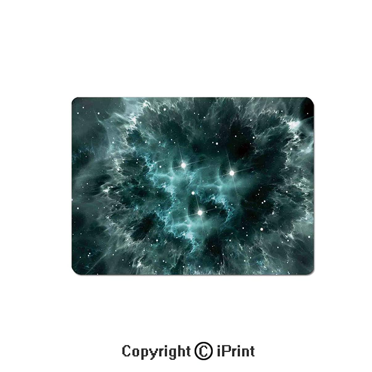 Anti-Slip Mouse Pad,Space Nebula in The Space with Crystal Star Cluster Galaxy Solar System Cosmos Print Mouse Mat,Non-Slip Rubber Base Mousepad,7.9x9.5 inch,Teal