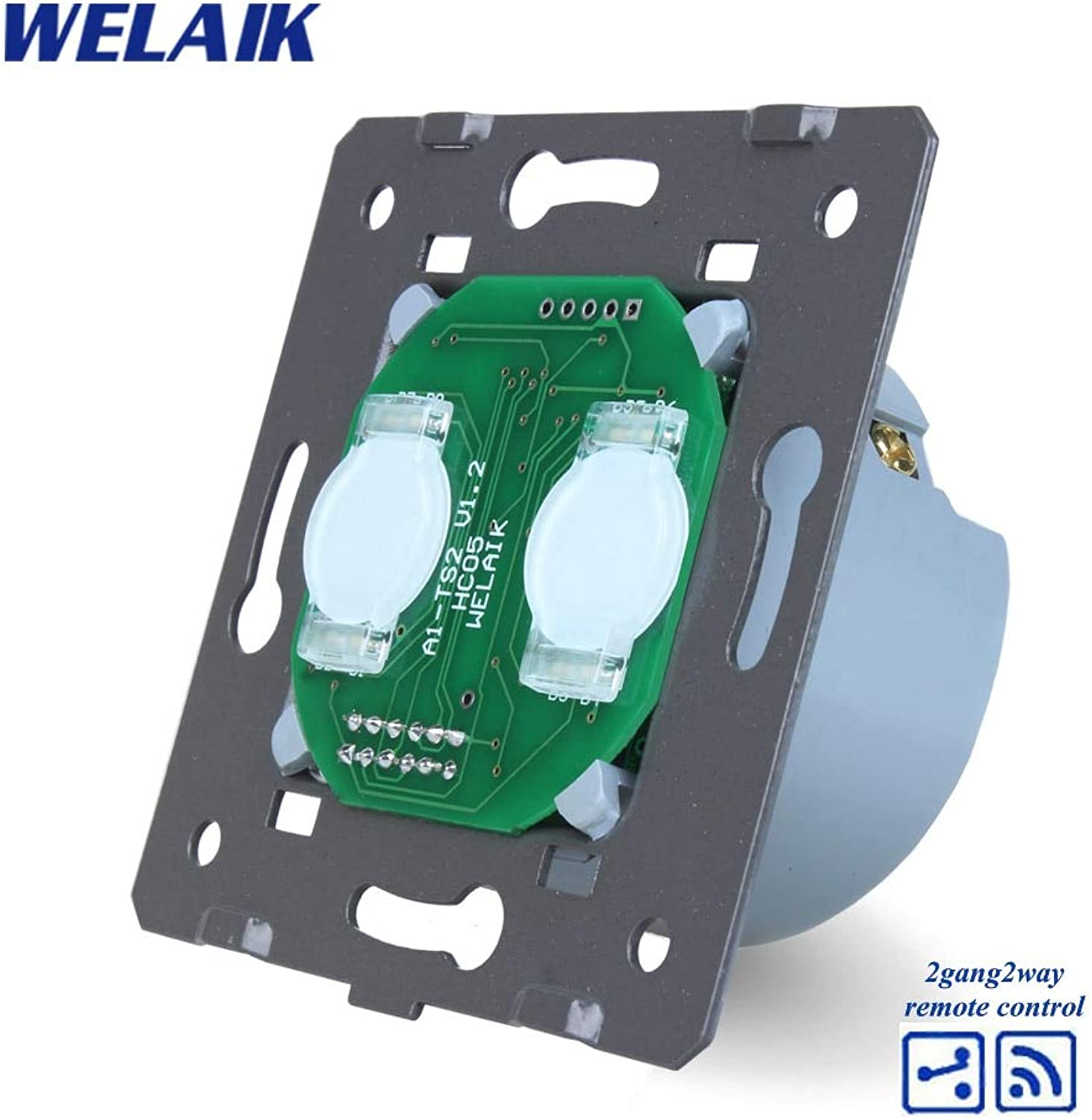 WELAIK Switch White Wall Switch EU Remote Control Touch Switch DIY Parts Screen Wall Light Switch 2gang2way AC110250V A924
