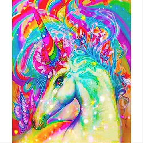 HDGREF Malen nach Zahlen Kit DIY Leinwand DIY Tier Waschbär bunten Pferdekopf Malen nach Zahlen Leinwand Pigment-40x50cm-No Frame