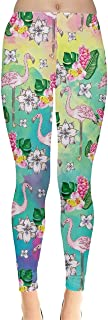 Womens Flamingo Birds Feather Summer Hot Tropical Party Beach Leggings, XS-5XL