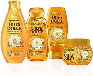 Garnier Shampoo + Balsamo + Maschera + Bagnoschiuma UltraDolce, Kit Con Shampoo, Balsamo, Maschera e Bagnoshiuma per Capel...