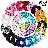 20 pcs Chouchous en Velours Élastiques pour Cheveux pour Femme Fille + 60 Pinces à Cheveux pour Filles (10 couleurs), PAMIYO Femme ou Filles Accessoires Cheveux Cravates Bandes Chouchous