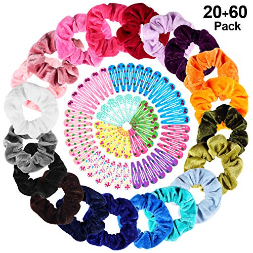 20 Colori Elastico In Velluto Scrunchies, PAMIYO Hair Scrunchies Fasce per Capelli in velluto Elastic Hair Scrunchy per Donne Ragazze + 60 Pack Mollette per Capelli Colorati per Bambina