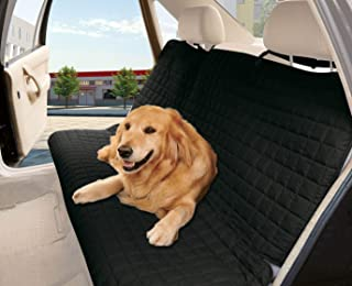 Elegance Linen Quilted%100 Waterproof Premium Quality Bench Car Seat Protector Cover (Entire Rear Seat) for Pets - Ties to Stop Slipping Off The Bench