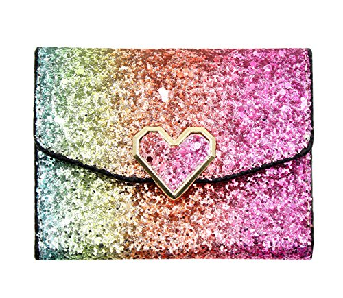 Colorful Glitter Sequins Trifold Wallet Card Holder Bling Clutch Purse Handbag with Heart-shaped Snap