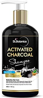 StBotanica Activated Charcoal Hair Shampoo, 300ml - No SLS/Sulphate, Paraben or Silicon - Refreshing Menthol, Organic Oliv...